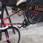 自転車スタンドをやっと作ってもらいました。 (Cafe Haku)