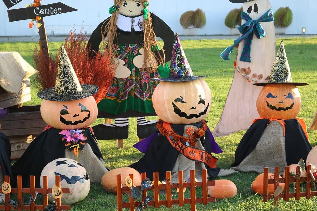 市川町文化センターでハロウィン飾りつけ|ジャックオーランタンファミリー登場