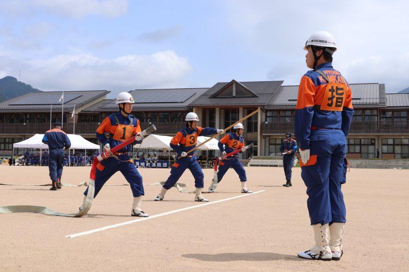 第7回神崎郡消防操法大会が開催。 神崎小学校グラウンド