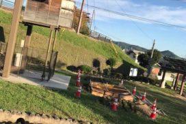 (福崎町)辻川山公園、妖怪天狗小屋の下でなにやら工事