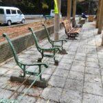 「座れぬベンチ」が「座れるベンチに」|生野銀山湖レンタルボート湖畔