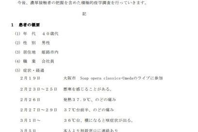 【姫路市】40代男性が新型コロナウイルス感染 大阪のライブ参加