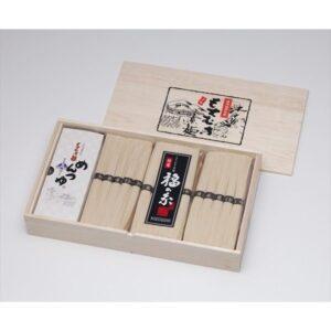 【福崎町】もちむぎ手延素麺 福の糸:麺50g×30束(木箱入)めんつゆ付 TS-50