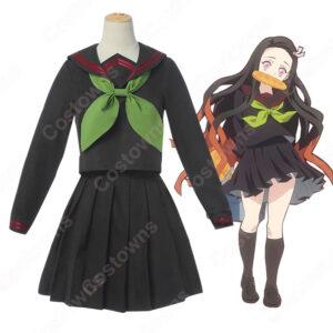 竈門禰豆子 キメツ学園 コスプレ衣装 【鬼滅の刃 番外編】 cosplay セーラ服