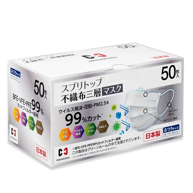 【前田工繊】不織布のプロがつくるマスク「スプリトップ」|BFE・VFE・PFEすべて99%以上