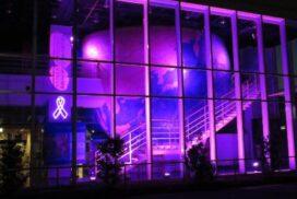 【宍粟市】宍粟防災センターが紫にライトアップ|女性に対する暴力をなくす運動