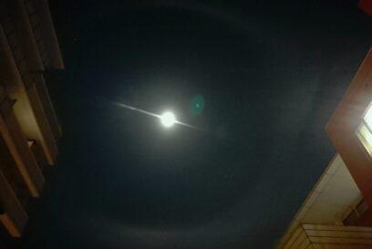 吉兆か、凶兆か。福崎町で月暈(つきがさ・げつうん)
