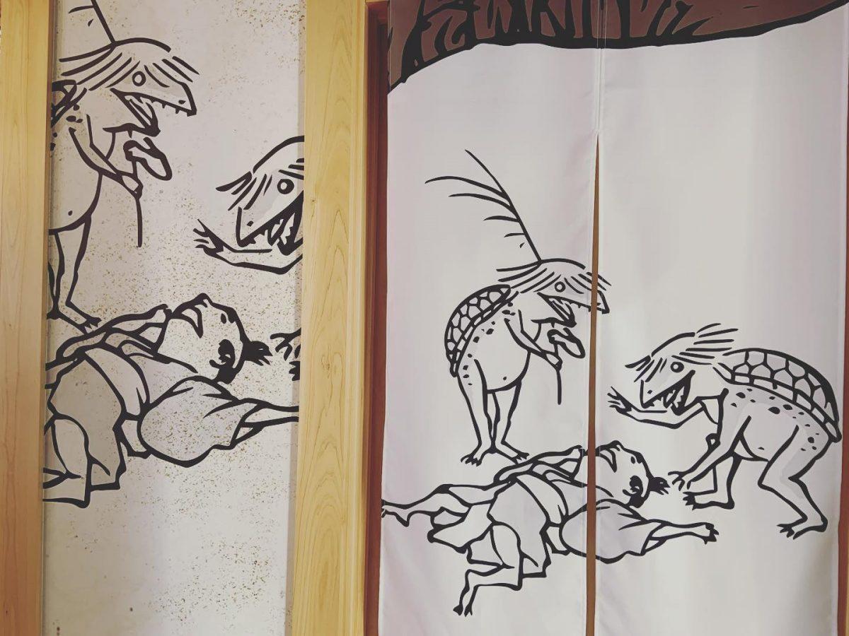 【福崎町】新アイテム発売。「河童人物戯画」タペストリー風呂敷