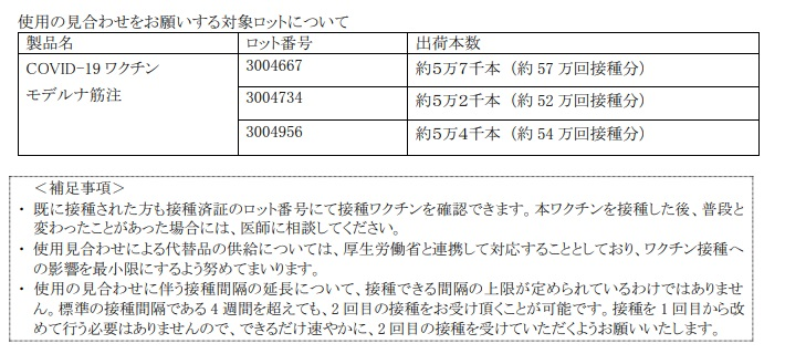 福崎町商工会の職域接種は該当なし。モデルナワクチンに異物混入