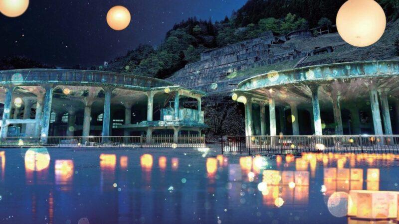 【不夜城】『神子畑選鉱場跡』夜の幻想的なライトアップ